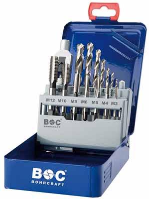 Set 15 kratkih strojnih navojnih svedrov DIN 352 HSS-G • M v kovinski škatli