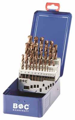 Set 25 spiralnih svedrov DIN 338 HSS-E (Co 5) kobaltno legiran, s križnim obrusom v kovinski škatli