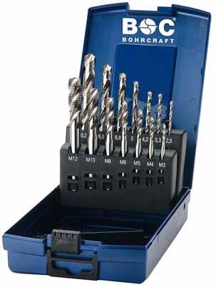 Set 14 strojnih navojnih svedrov DIN 371 HSS-E (Co 5) • M, Oblika C/35° RSP v ABS škatli
