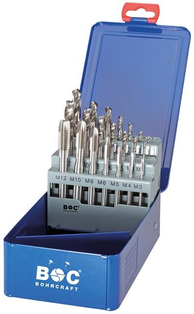 Set 21 strojnih navojnih svedrov DIN 371 HSS-E (Co 5) • M, Oblika B in C v kovinski škatli