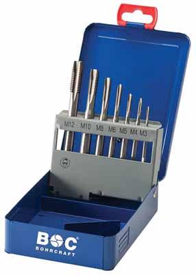 Set 7 strojnih navojnih svedrov DIN 371 HSS-E (Co 5) • M, Oblika B v kovinski škatli