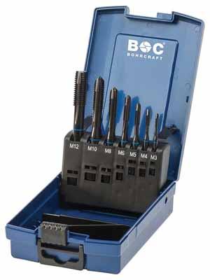 Set 7 strojnih navojnih svedrov Modri obroč DIN 371 HSS-E (Co 5) VAP • M, oblika B v ABS škatli
